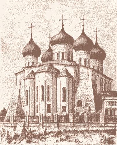 Вид на Успенский собор во Владимире в средние века