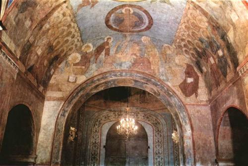 Фрески Андрея Рублева внутри Успенского собора во Владимире - современные фото