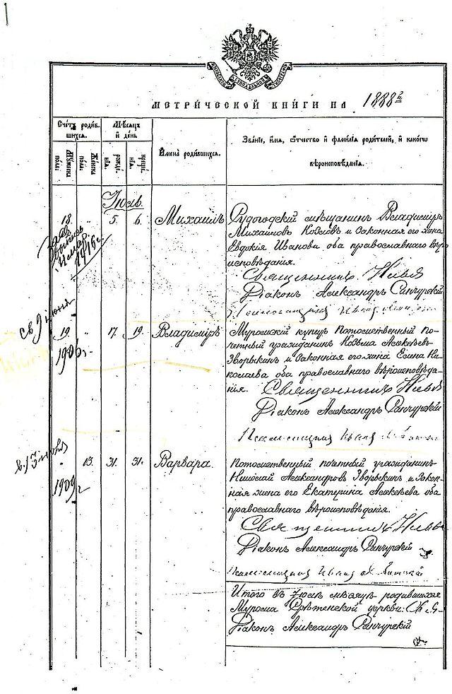 Запись в метрической книге о дате рождения Владимира Зворыкина